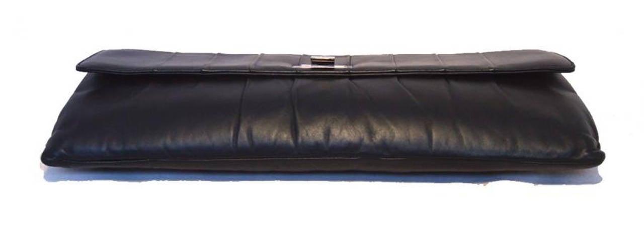 Chanel Black Pleated Lambskin Leather Clutch 5