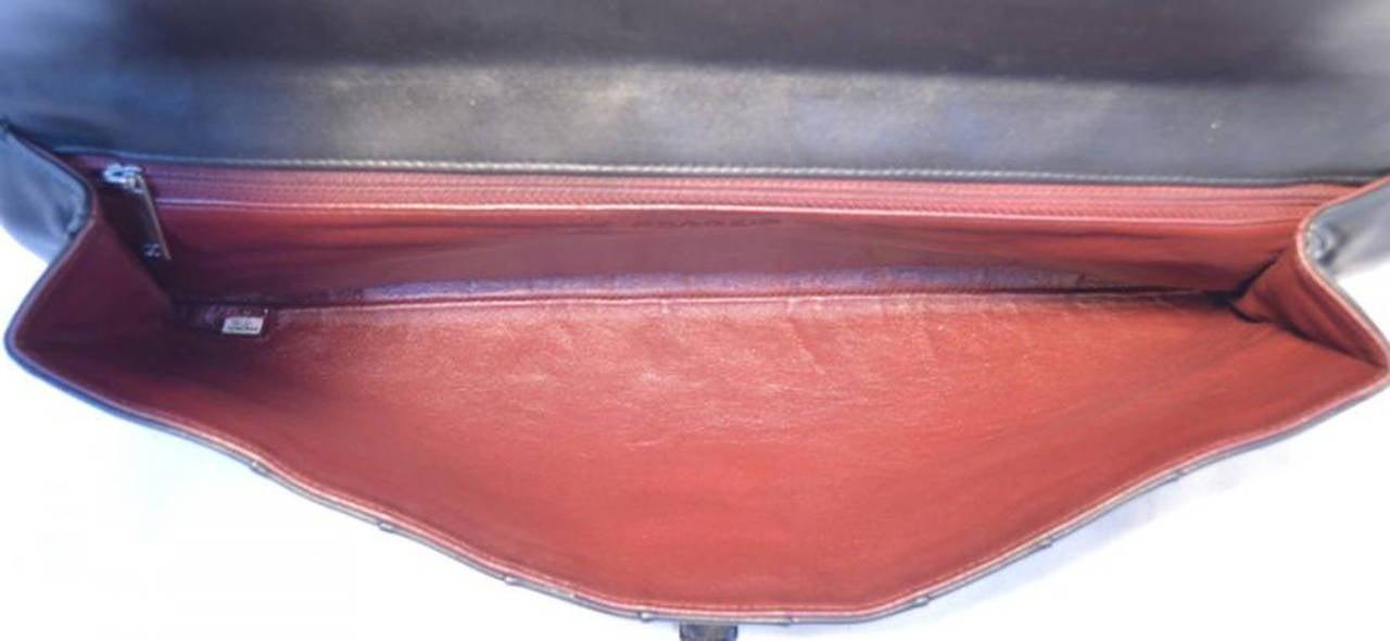 Chanel Black Pleated Lambskin Leather Clutch 6