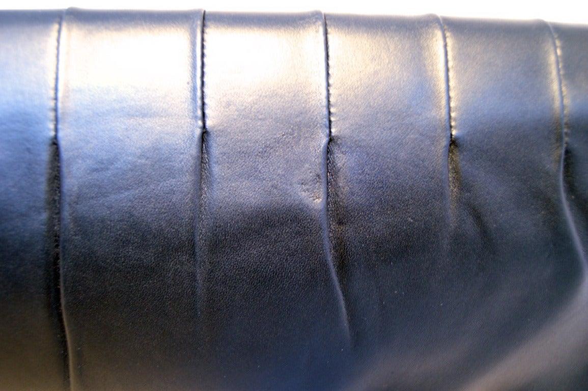 Chanel Black Pleated Lambskin Leather Clutch 8
