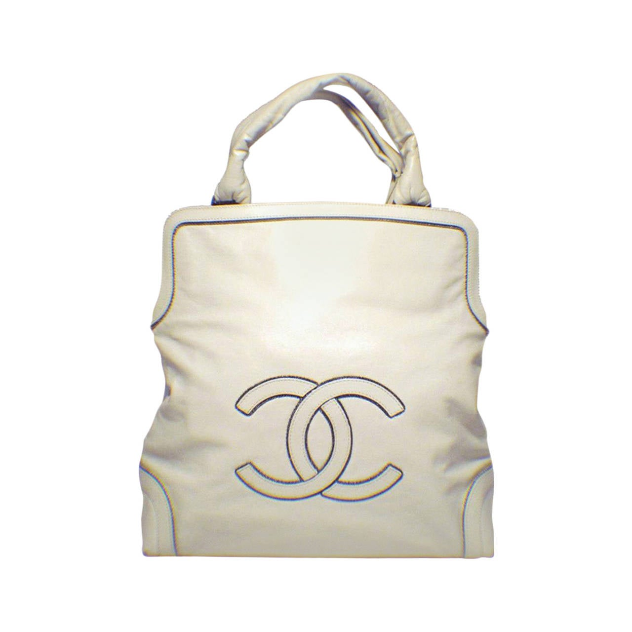 Chanel Cream Leather CC Chain Logo Handbag Tote 1