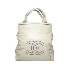Chanel Cream Leather CC Chain Logo Handbag Tote