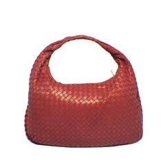 Bottega Veneta Classic Red Woven Lambskin Leather Shoulder Bag