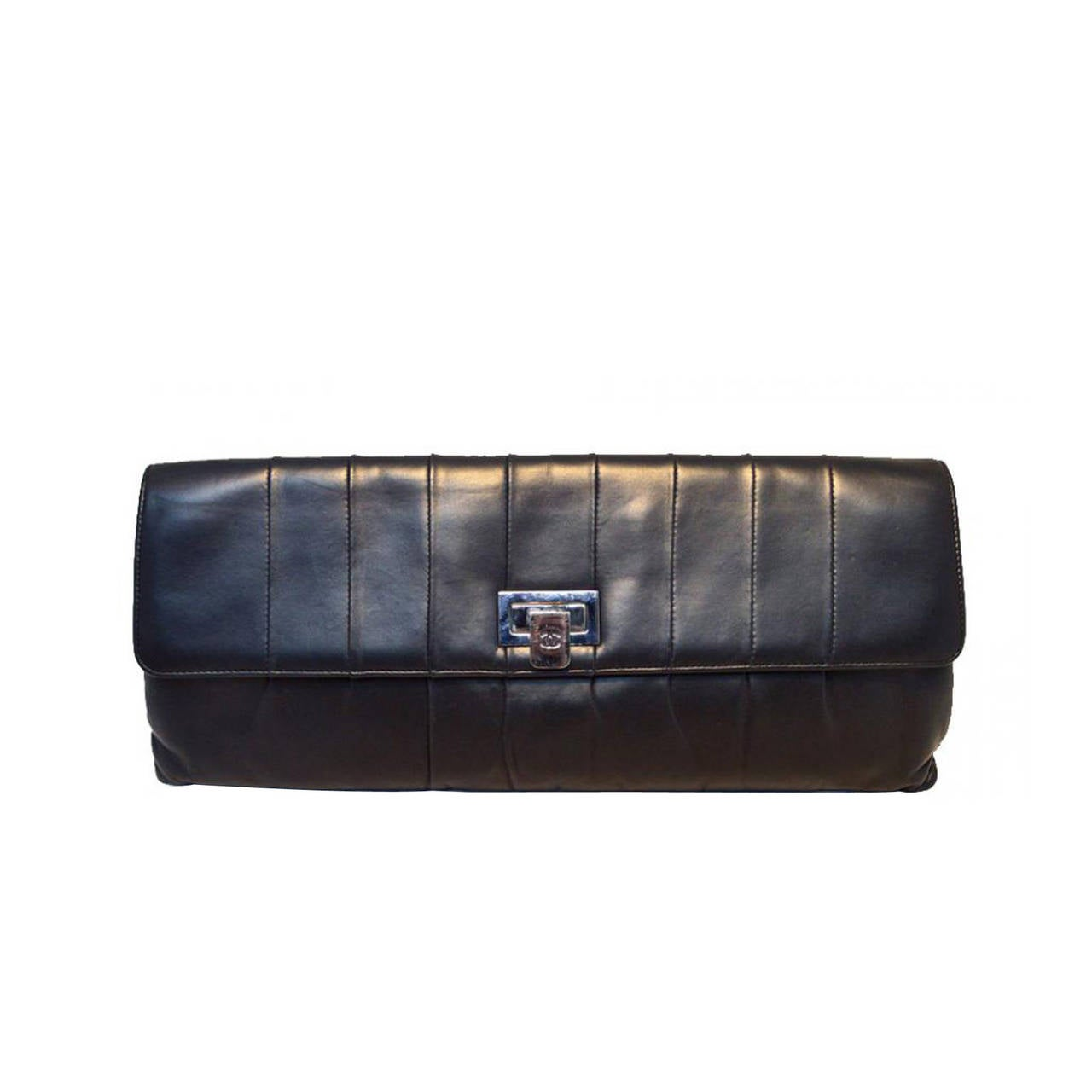 Chanel Black Pleated Lambskin Leather Clutch