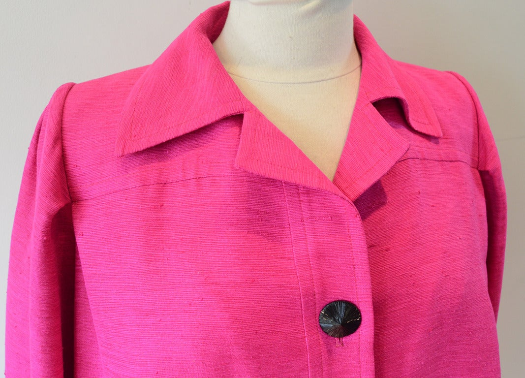 Women's Yves Saint Laurent Vintage Pink Silk and Linen Faille Jacket For Sale