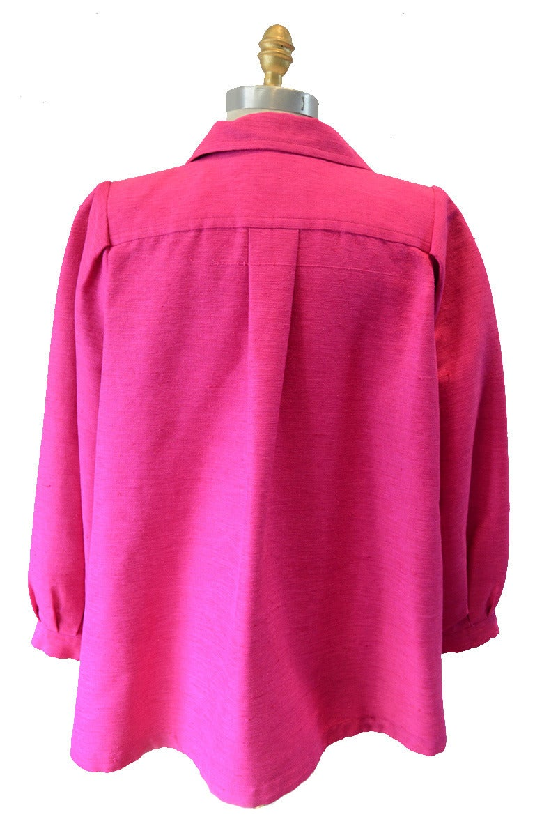 Yves Saint Laurent Vintage Pink Silk and Linen Faille Jacket In Excellent Condition For Sale In Philadelphia, PA