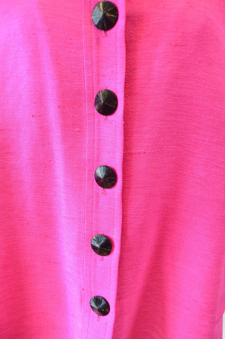 Yves Saint Laurent Vintage Pink Silk and Linen Faille Jacket For Sale 2