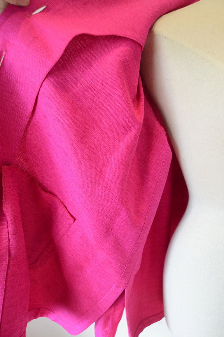 Yves Saint Laurent Vintage Pink Silk and Linen Faille Jacket For Sale 1