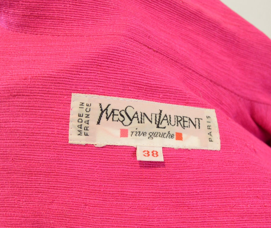 Yves Saint Laurent Vintage Pink Silk and Linen Faille Jacket For Sale 3