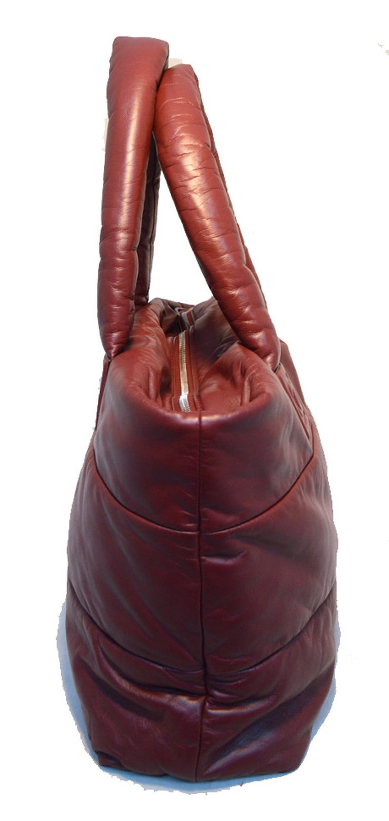 Brown Chanel Burgundy Leather Cocoon Tote For Sale