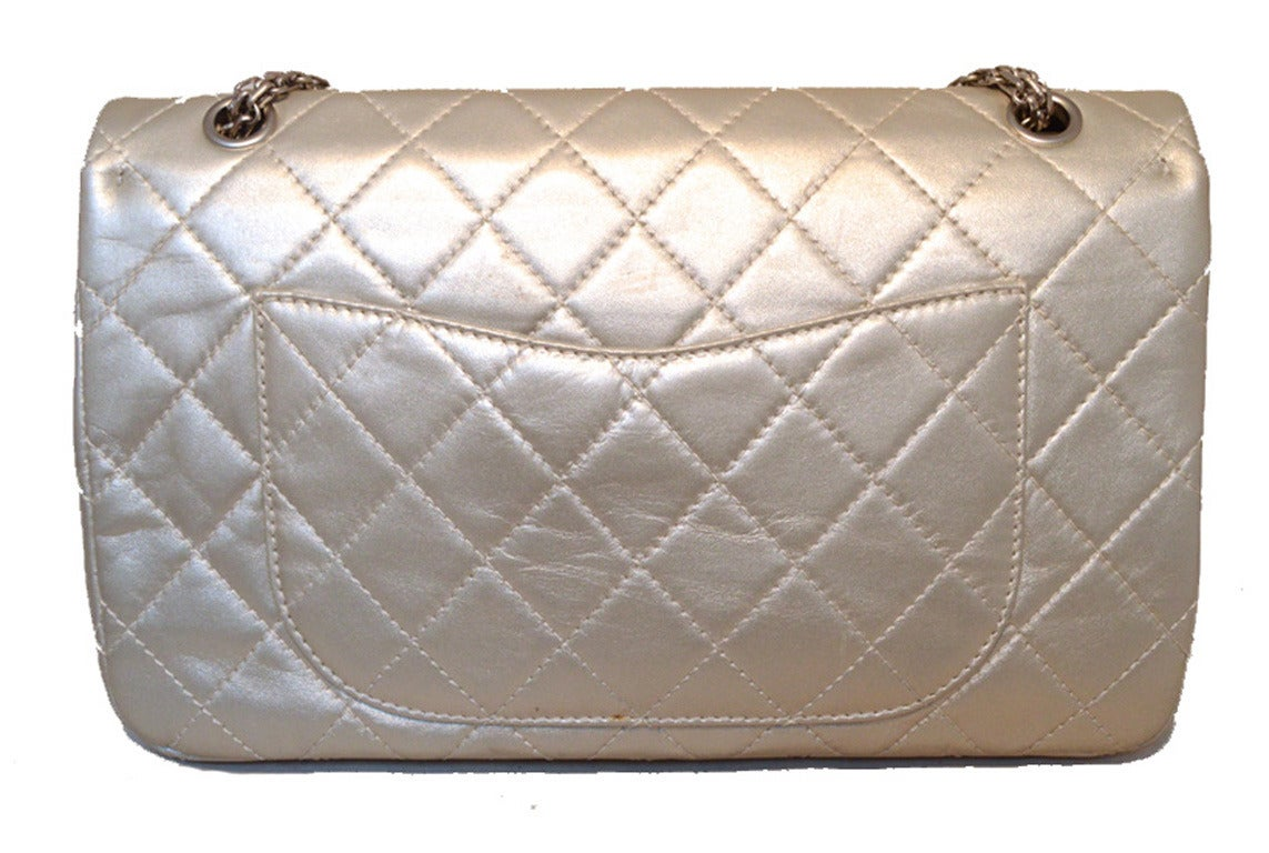 Chanel Silver Leather Jumbo 2.55 Double Flap Classic Shoulder Bag 3
