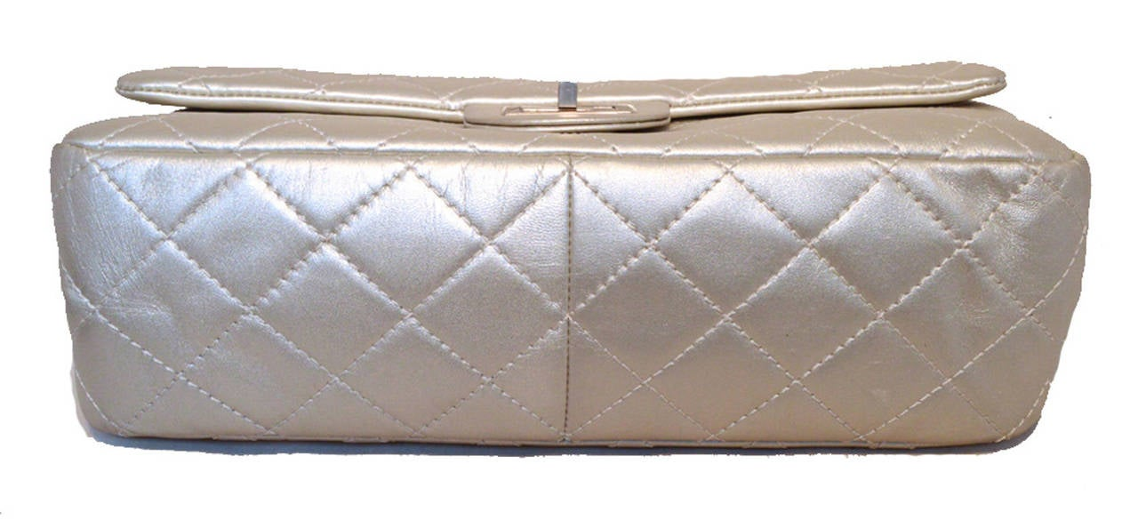 Chanel Silver Leather Jumbo 2.55 Double Flap Classic Shoulder Bag 4