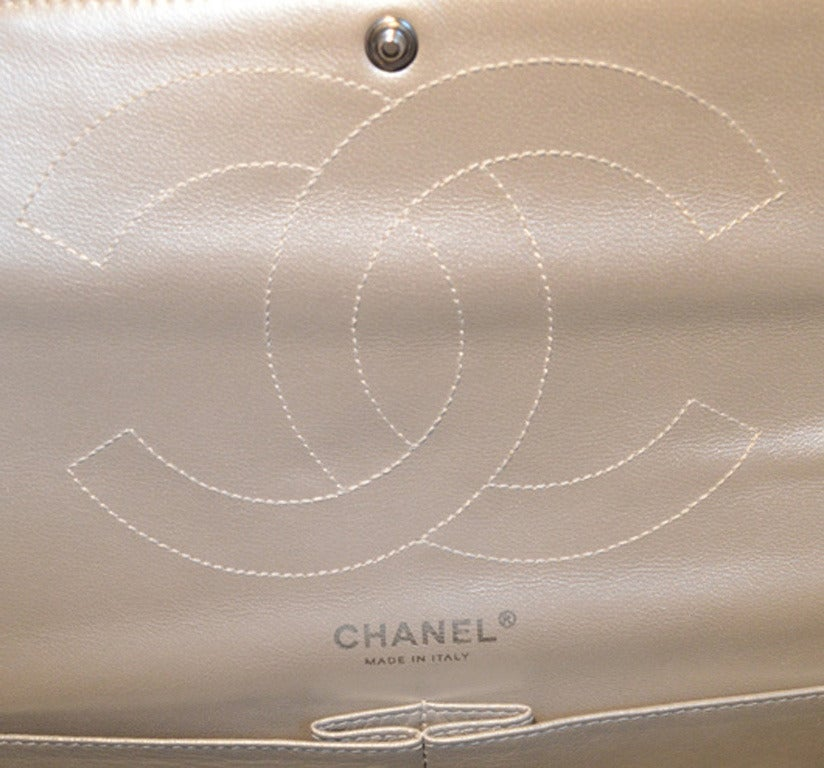 Chanel Silver Leather Jumbo 2.55 Double Flap Classic Shoulder Bag 8
