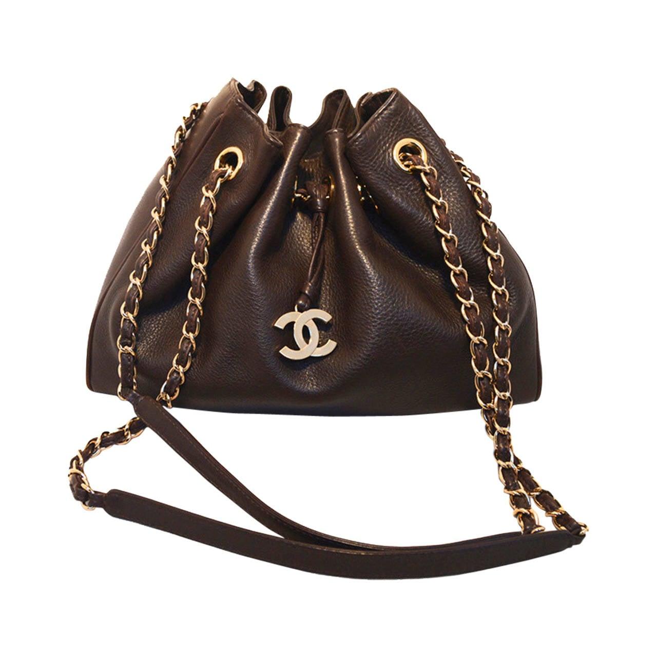 Chanel Brown Leather Drawstring Shoulder Bag For Sale At