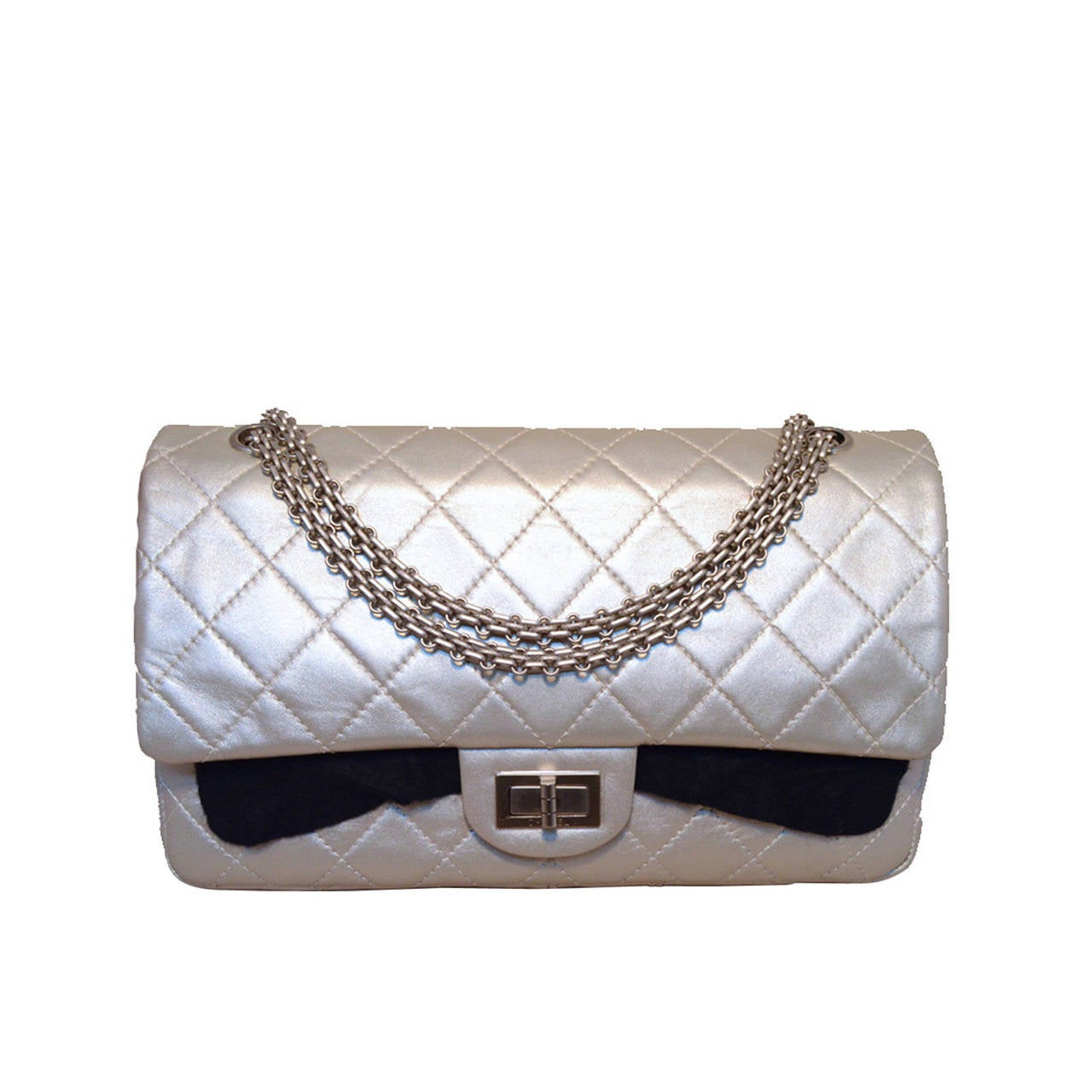 Chanel Silver Leather Jumbo 2.55 Double Flap Classic Shoulder Bag 1