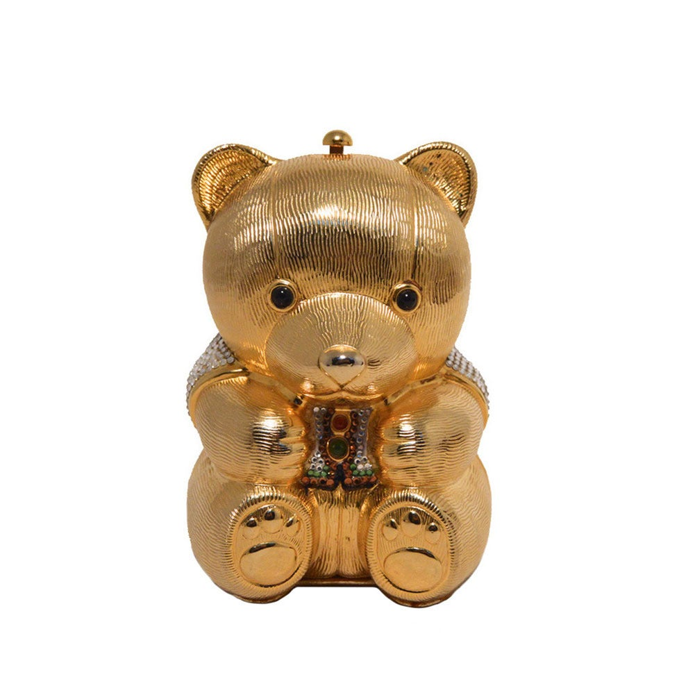 Judith Leiber Gold & Swarovski Crystal Teddy Bear Minaudiere For Sale