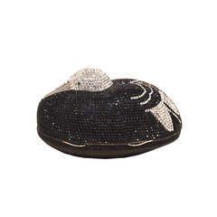 Judith Leiber Black and Silver Swarovski Crystal Sitting Duck Minaudiere
