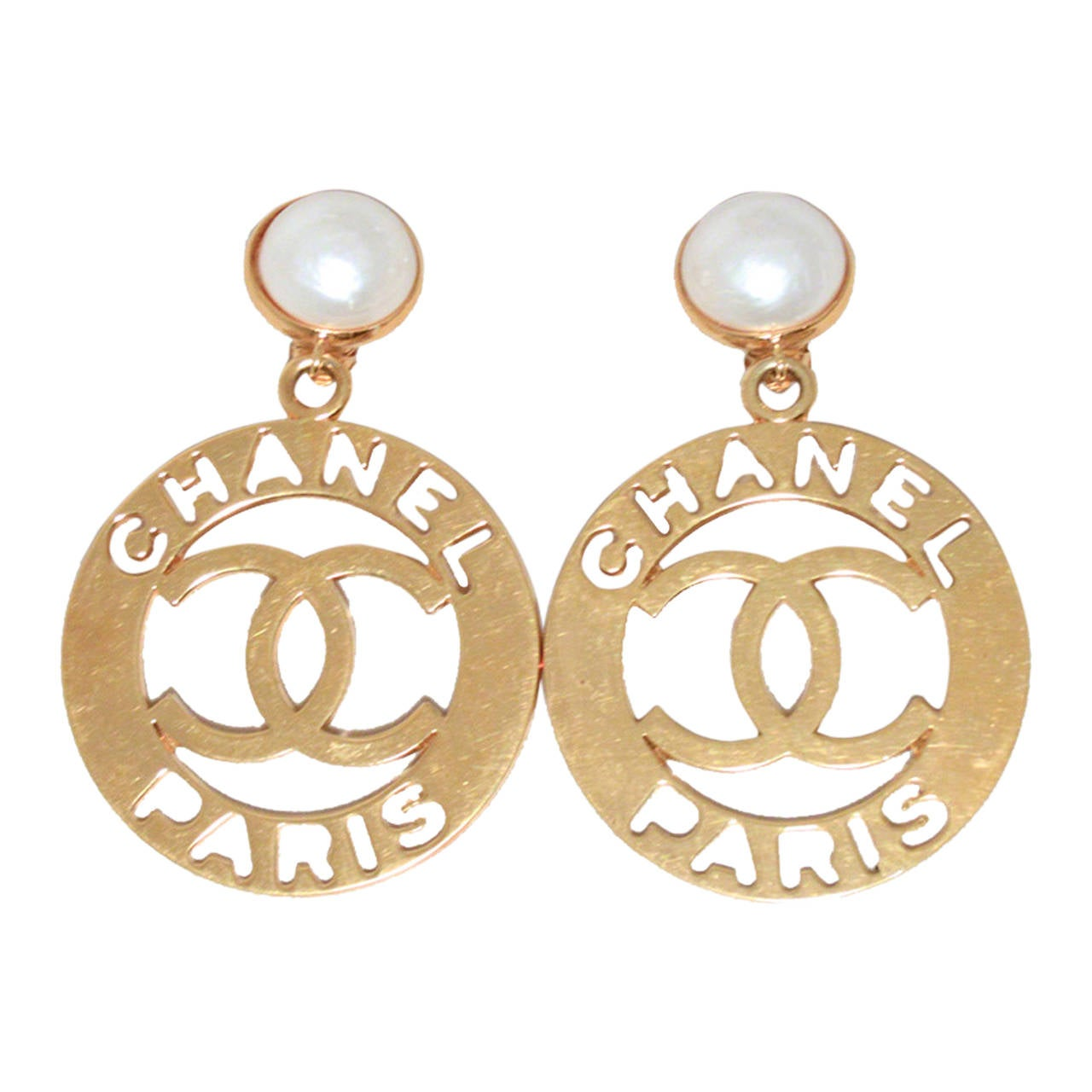 Chanel Paris Iconic Gold And Pearl Vintage Round Earrings 1