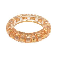 Authentic Chanel Clear Acrylic and Gold Chain Bangle Bracelet