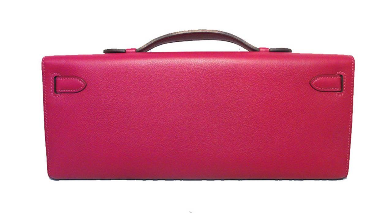 Hermes Fuchsia Swift Leather Kelly Cut Clutch Handbag-rare 2