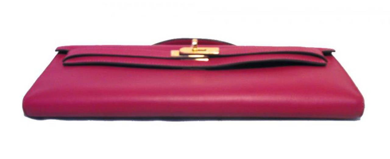Hermes Fuchsia Swift Leather Kelly Cut Clutch Handbag-rare 8