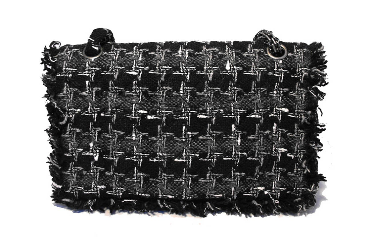 Chanel Black Tweed Charms Classic 10inch 2.55 Flap-runway Edition In Excellent Condition For Sale In Philadelphia, PA