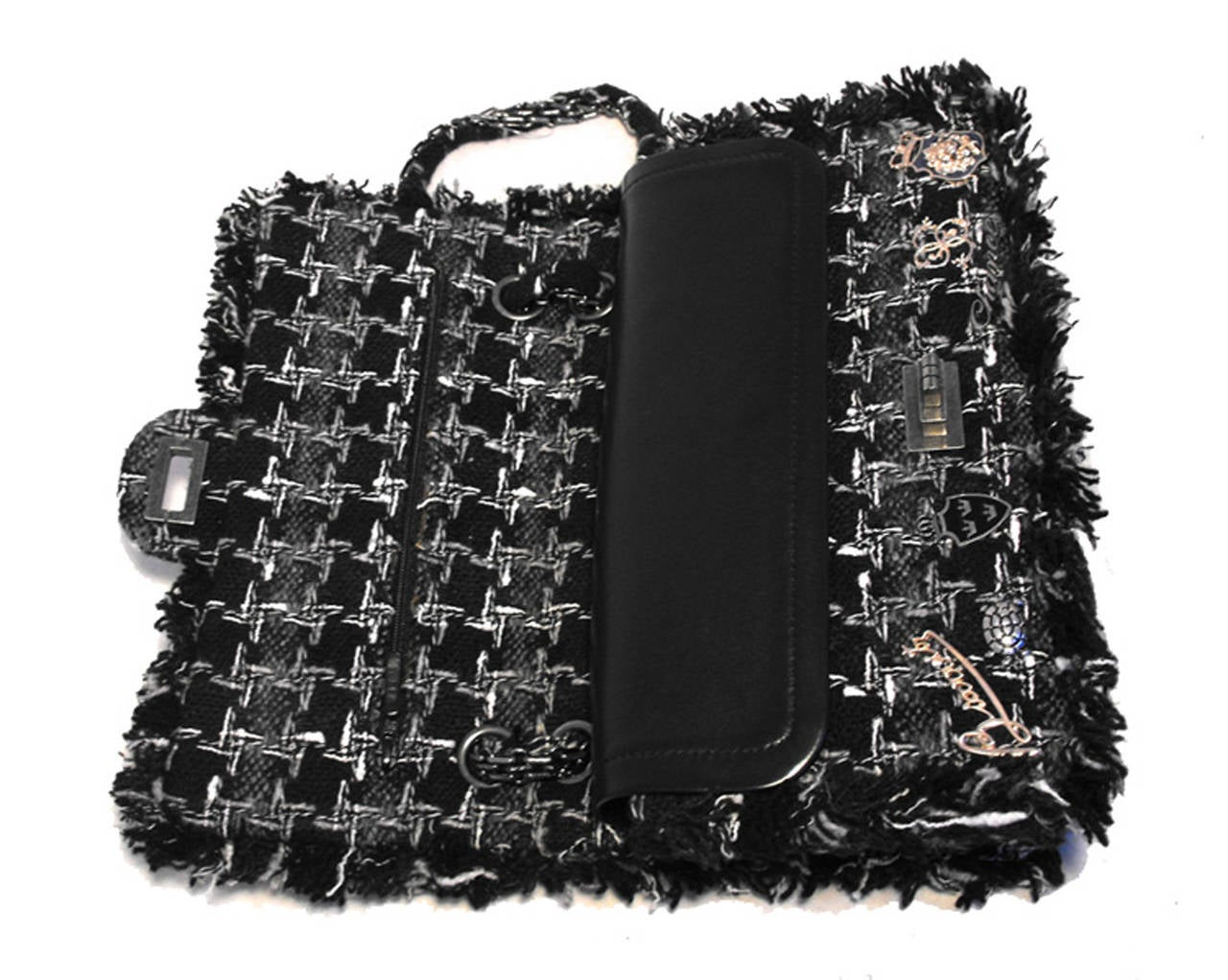 Chanel Black Tweed Charms Classic 10inch 2.55 Flap-runway Edition For Sale 2