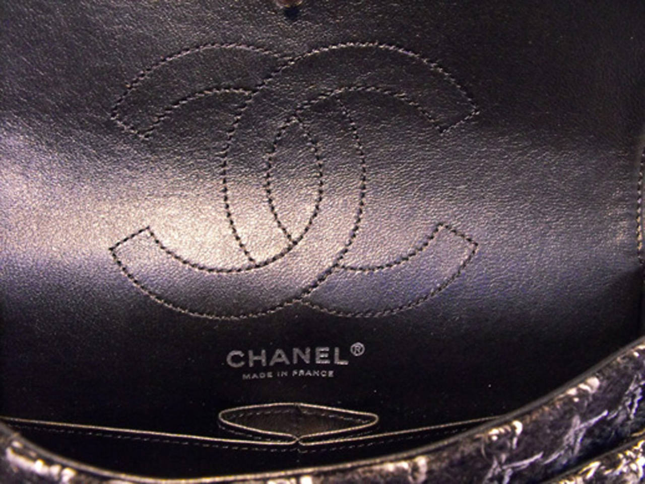 Chanel Black Tweed Charms Classic 10inch 2.55 Flap-runway Edition For Sale 4