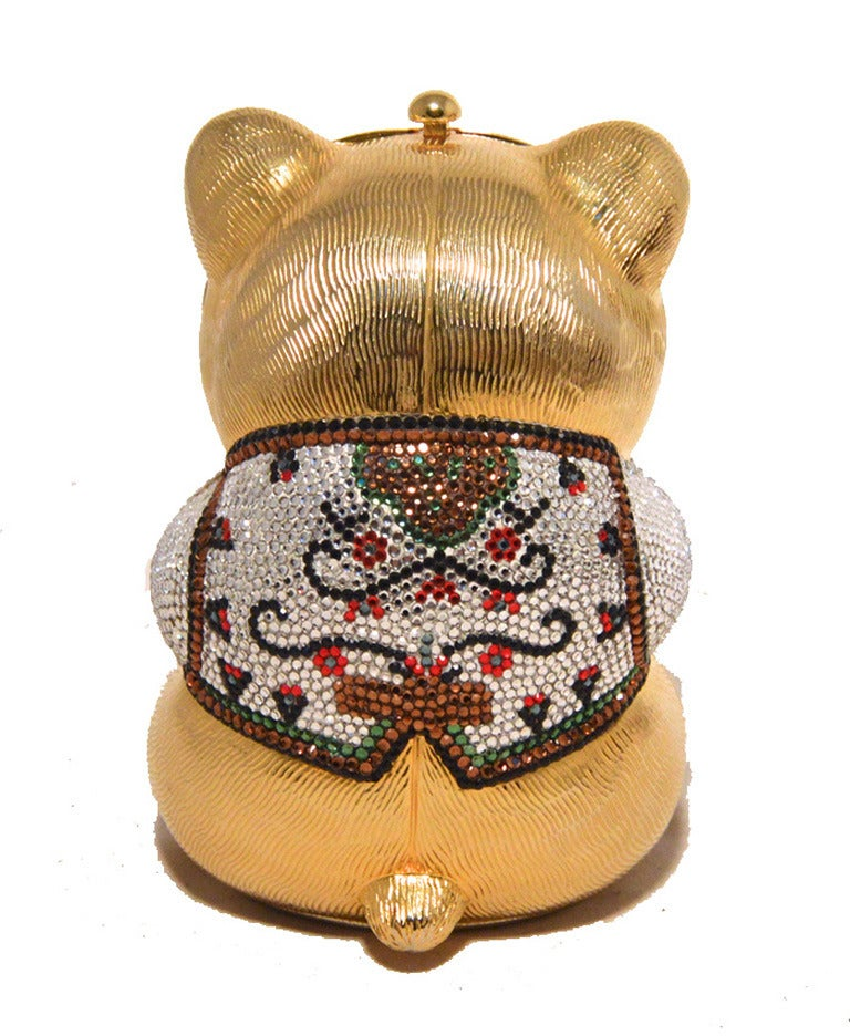 Brown Judith Leiber Gold & Swarovski Crystal Teddy Bear Minaudiere For Sale