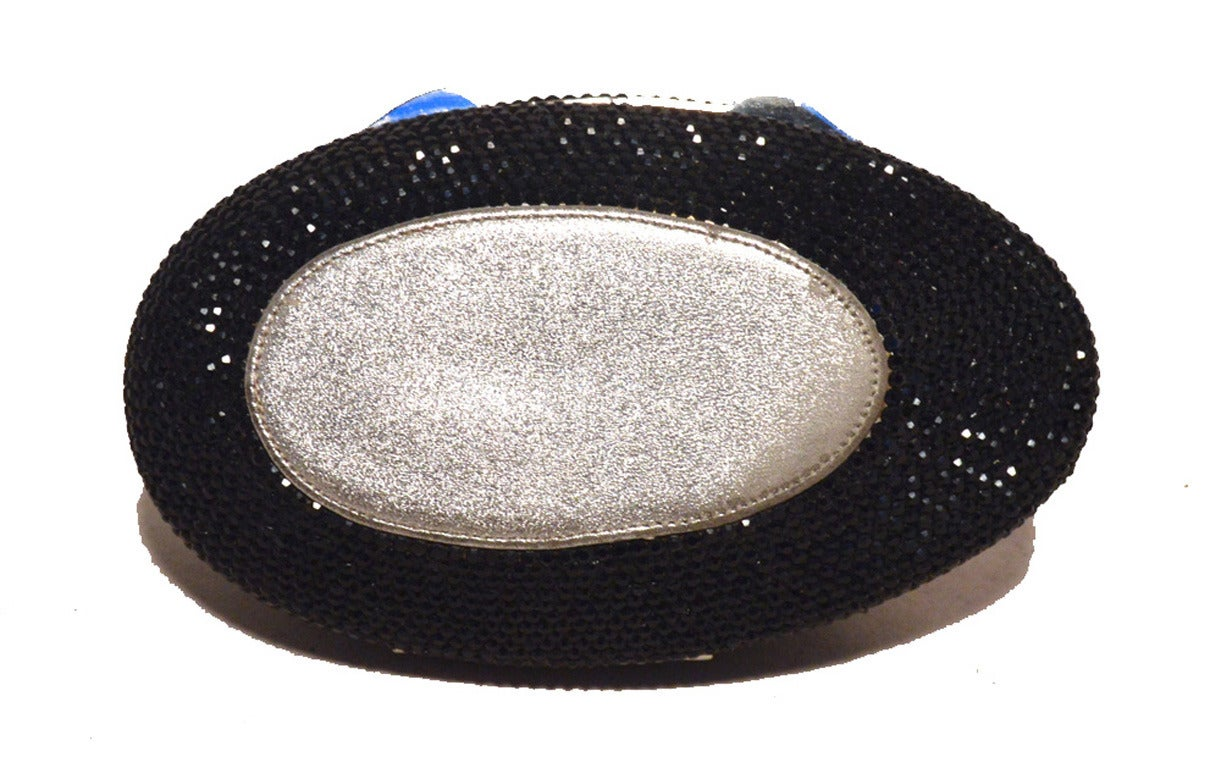 Women's Judith Leiber Black and Silver Swarovski Crystal Sitting Duck Minaudiere For Sale