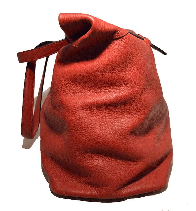 Hermes Rouge Clemence Leather XL Shoulder Bag Travel Tote 3