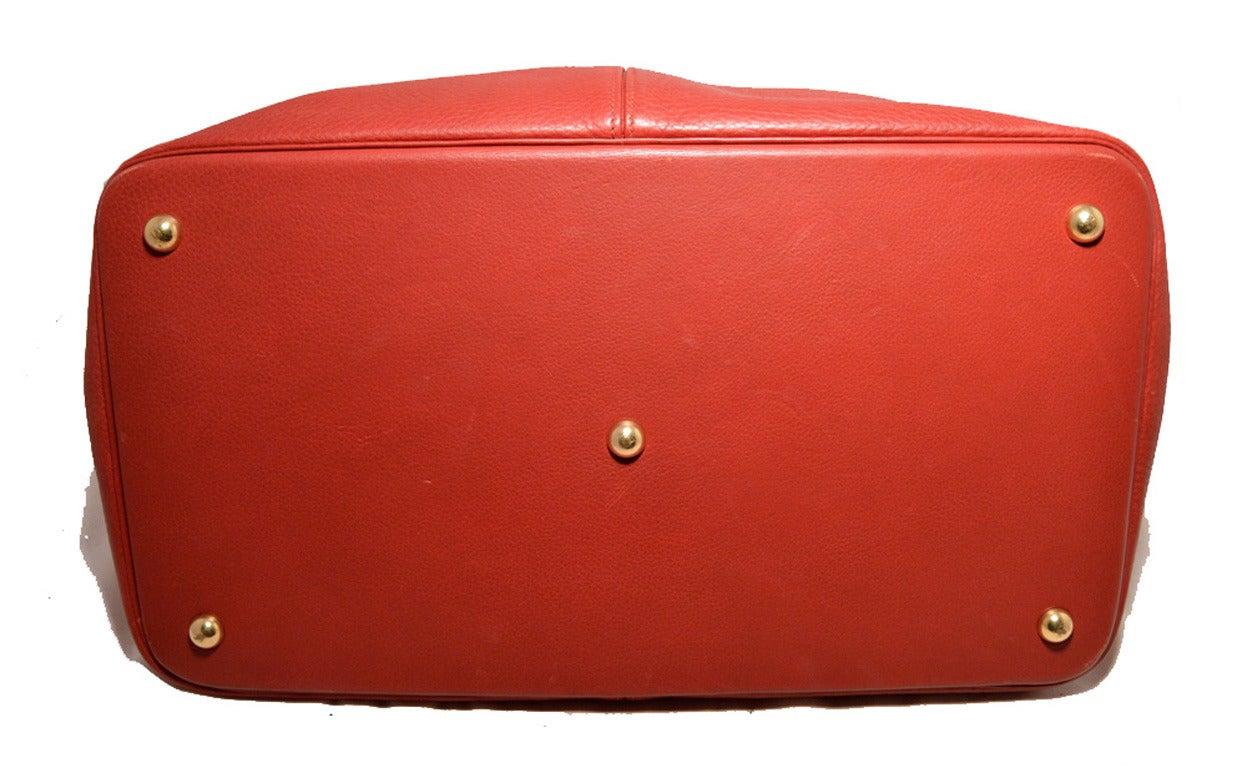 Hermes Rouge Clemence Leather XL Shoulder Bag Travel Tote 4