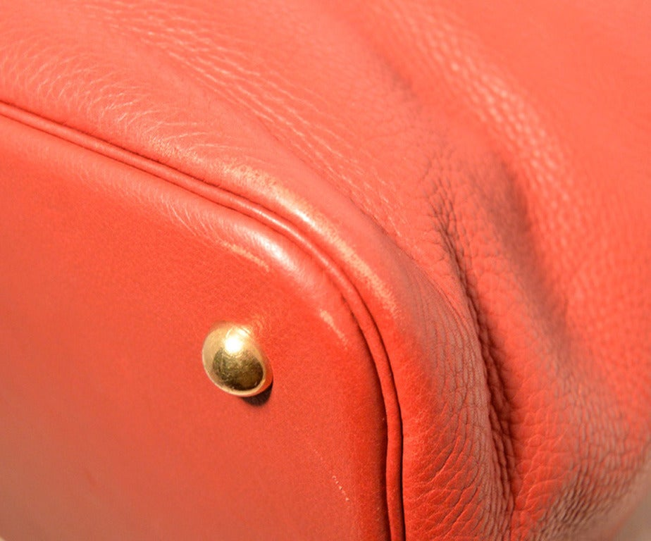 Hermes Rouge Clemence Leather XL Shoulder Bag Travel Tote 5
