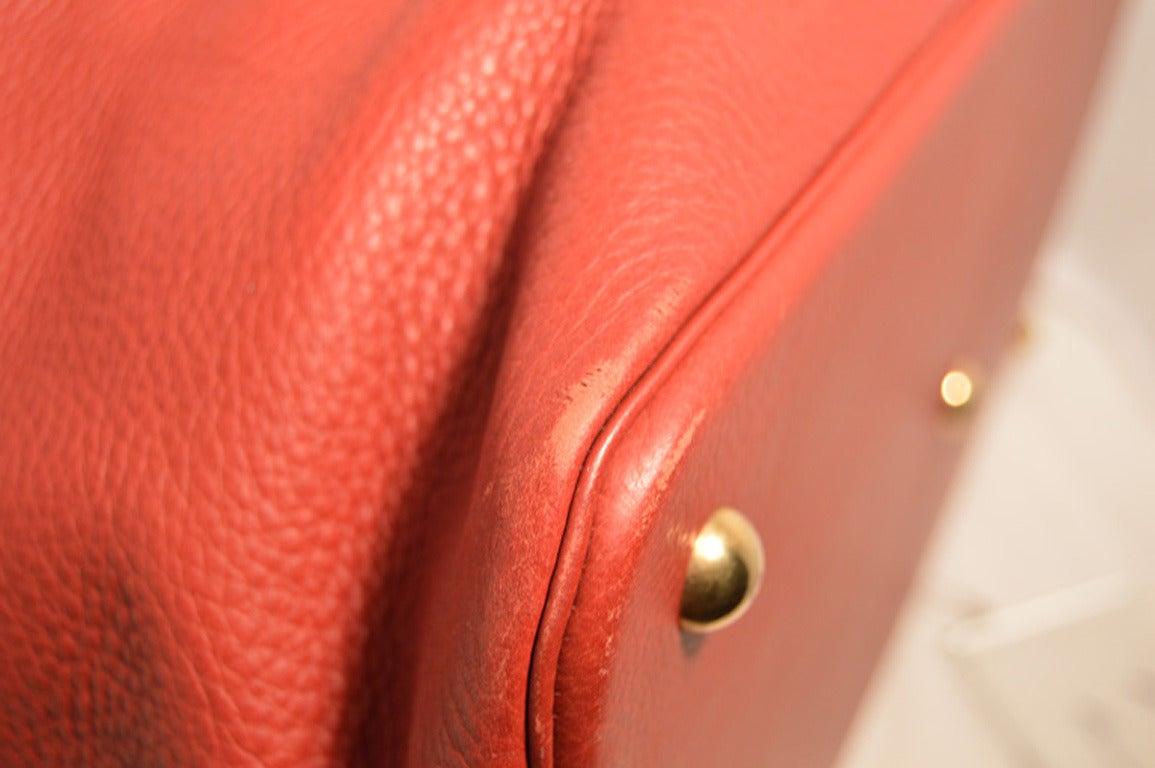 Hermes Rouge Clemence Leather XL Shoulder Bag Travel Tote 6