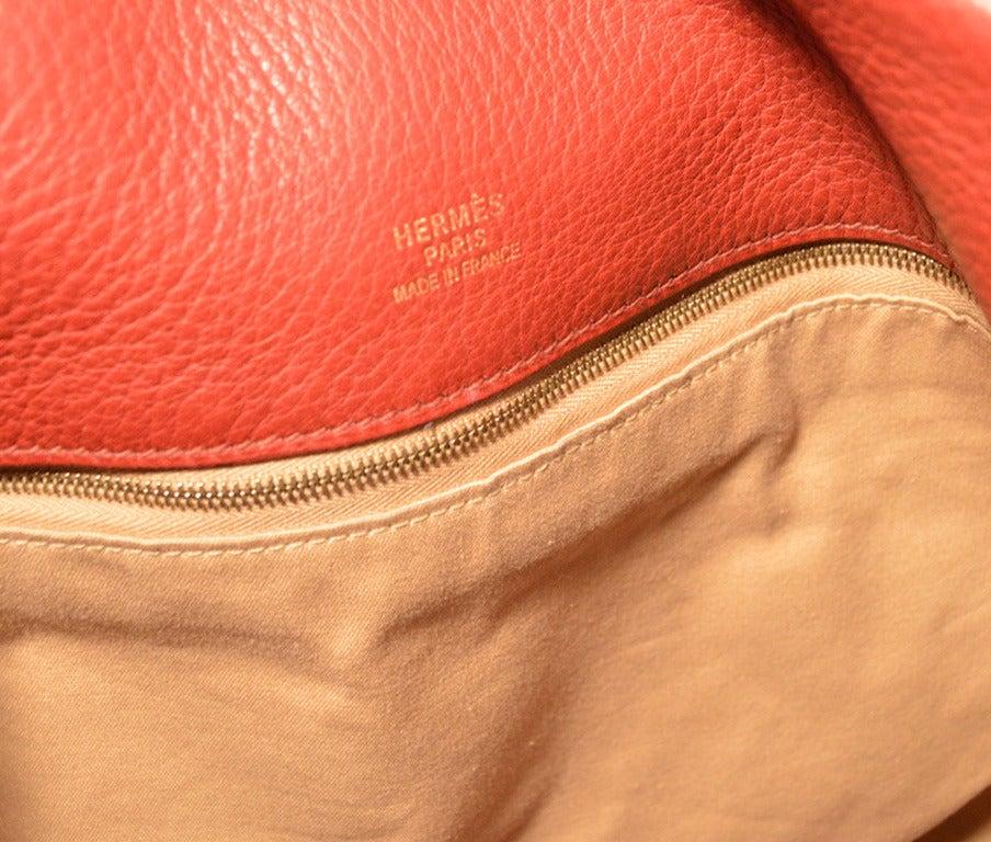 Hermes Rouge Clemence Leather XL Shoulder Bag Travel Tote For Sale 3