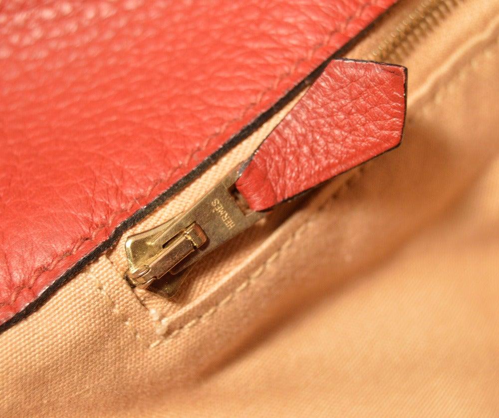 Hermes Rouge Clemence Leather XL Shoulder Bag Travel Tote For Sale 4