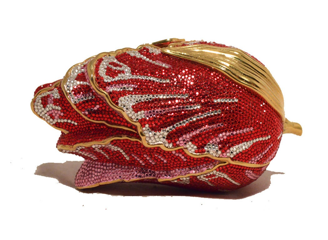 Judith Leiber Swarovski Crystal Red Rose Minaudiere Evening Bag In Excellent Condition For Sale In Philadelphia, PA
