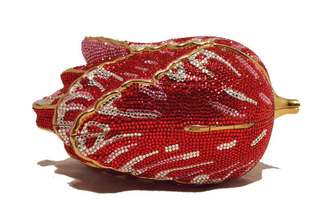 Judith Leiber Swarovski Crystal Red Rose Minaudiere Evening Bag For Sale 1