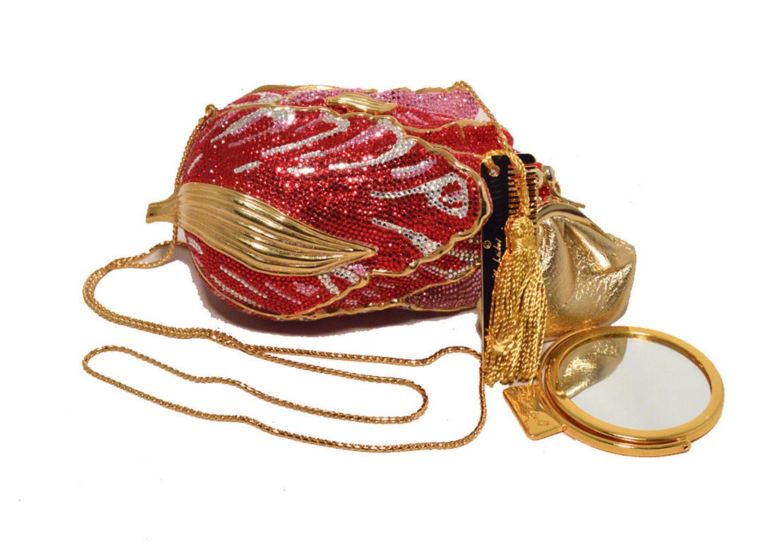 Judith Leiber Swarovski Crystal Red Rose Minaudiere Evening Bag For Sale 4