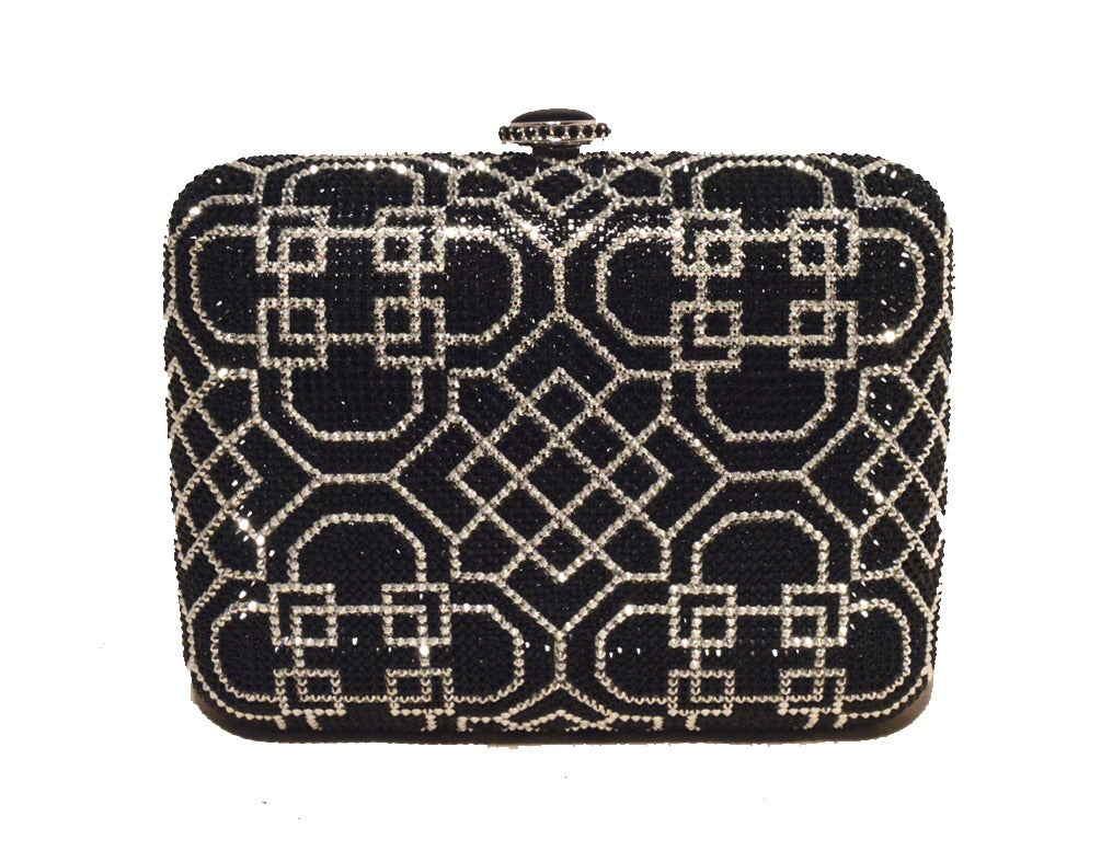 Judith Leiber Black and Silver Swarovski Crystal Art Deco Minaudiere In New Condition For Sale In Philadelphia, PA