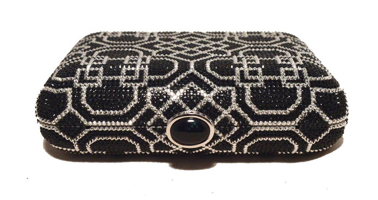 Women's Judith Leiber Black and Silver Swarovski Crystal Art Deco Minaudiere For Sale