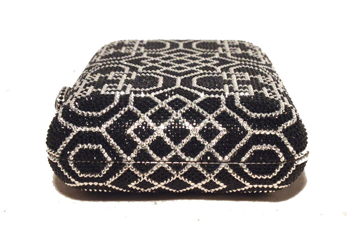 Judith Leiber Black and Silver Swarovski Crystal Art Deco Minaudiere For Sale 1