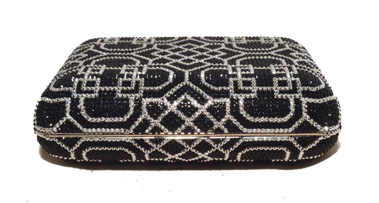 Judith Leiber Black and Silver Swarovski Crystal Art Deco Minaudiere For Sale 2