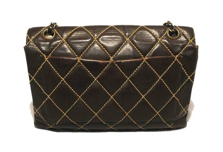 Chanel Brown Leather Maxi Flap Topstitch Classic Shoulder Bag In Good Condition For Sale In Philadelphia, PA