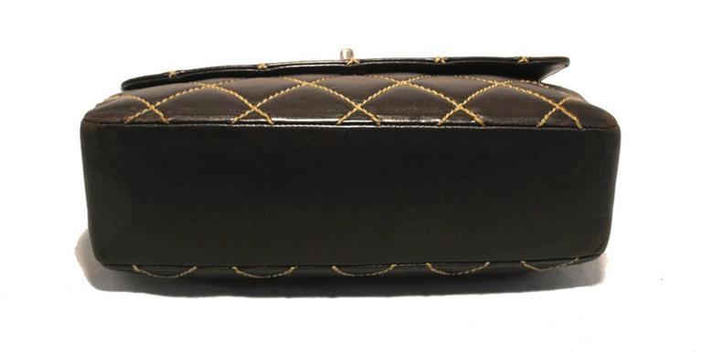 Black Chanel Brown Leather Maxi Flap Topstitch Classic Shoulder Bag For Sale