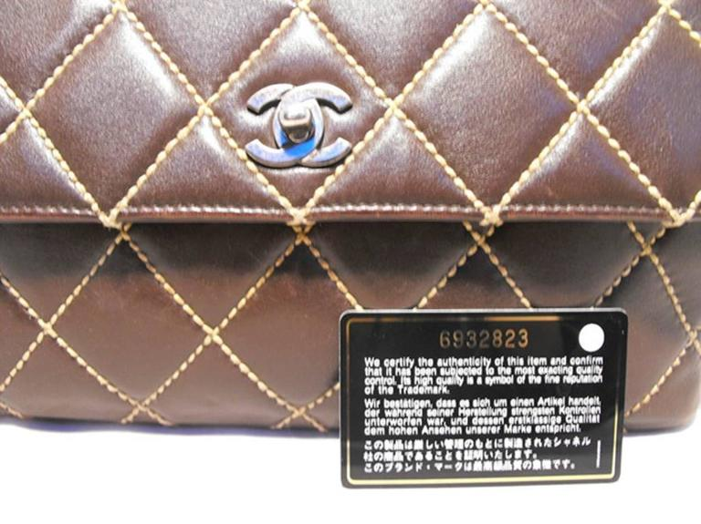 Chanel Brown Leather Maxi Flap Topstitch Classic Shoulder Bag For Sale 2