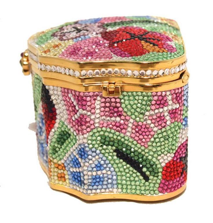 Judith Leiber Swarovski Crystal Floral Jewelry Box Minaudiere 2