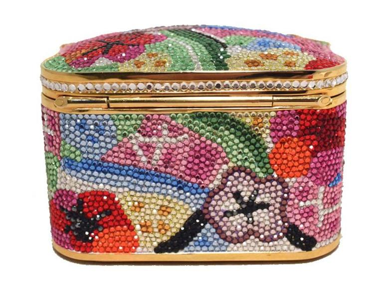 Judith Leiber Swarovski Crystal Floral Jewelry Box Minaudiere 6