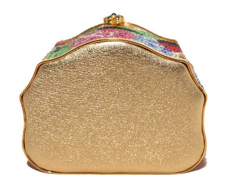 Beige Judith Leiber Swarovski Crystal Floral Jewelry Box Minaudiere For Sale