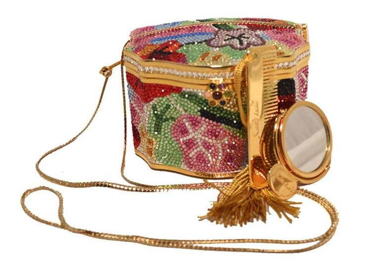 Judith Leiber Swarovski Crystal Floral Jewelry Box Minaudiere 4