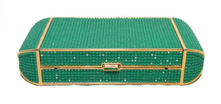Judith Leiber Swarovski Crystal Green Minaudiere For Sale 1